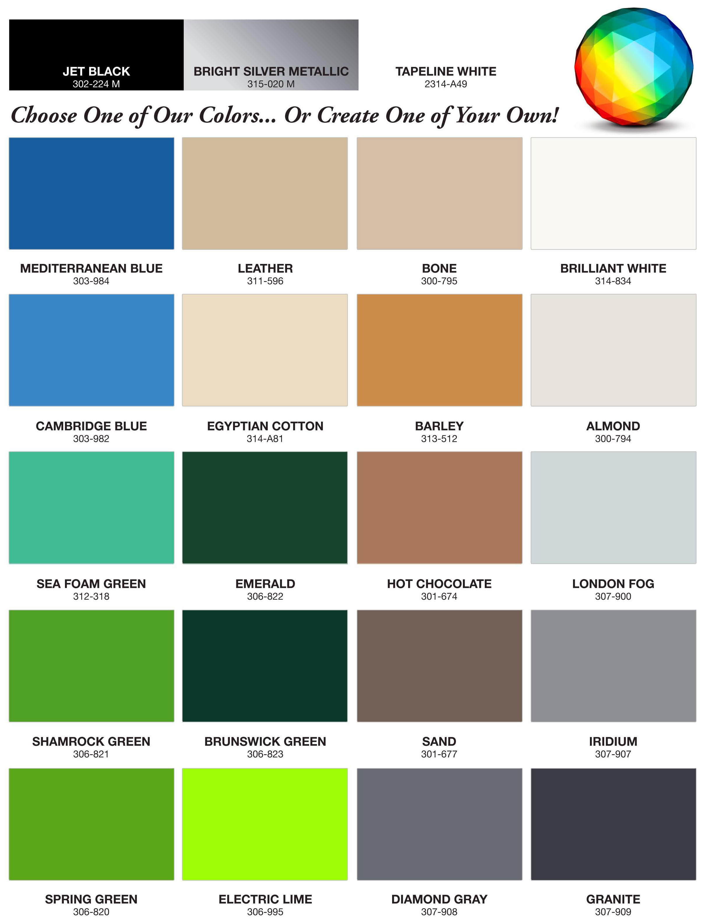 Gelcoat colors for California Sprinter Interiors