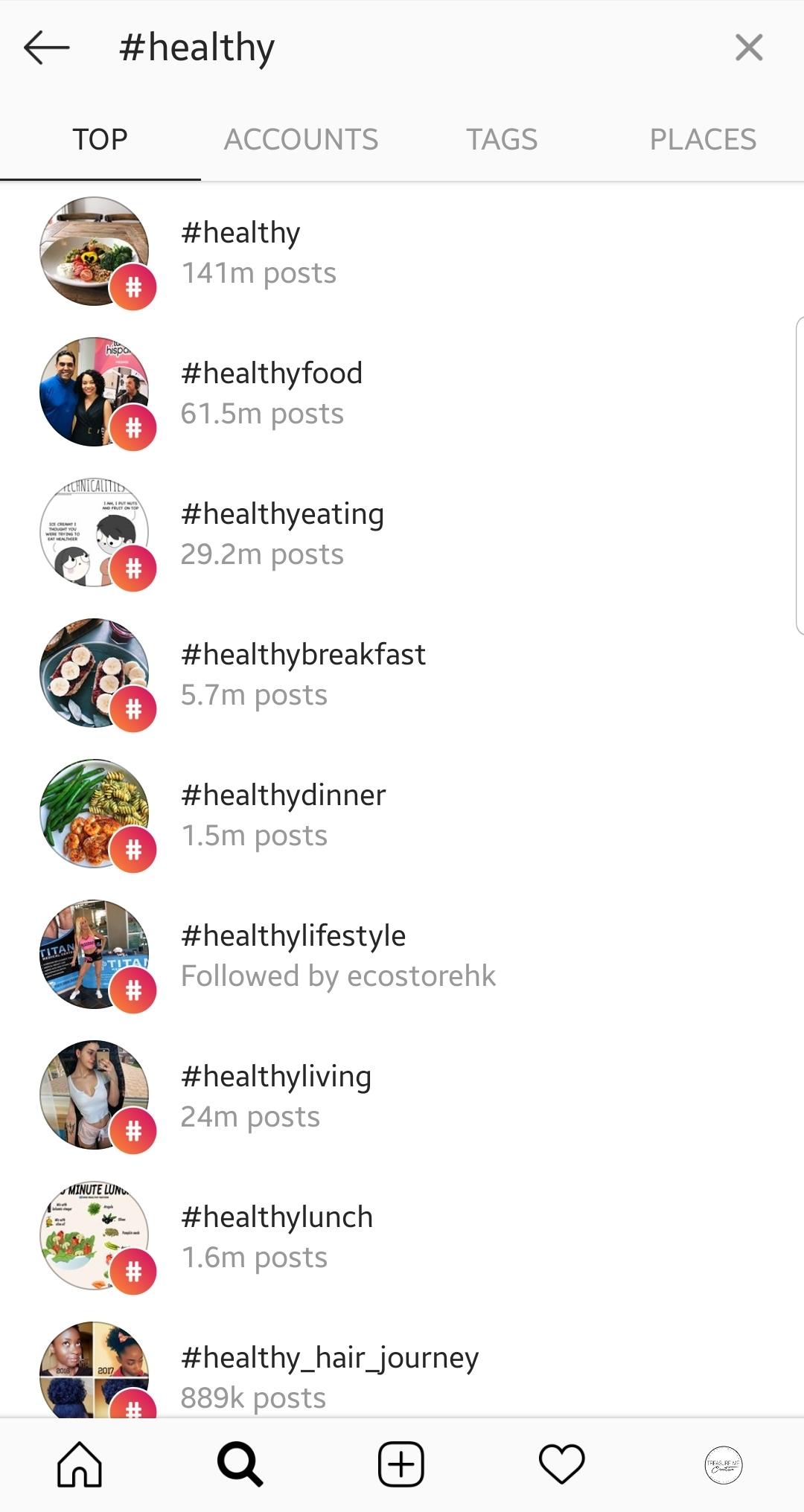 hashtags healthy