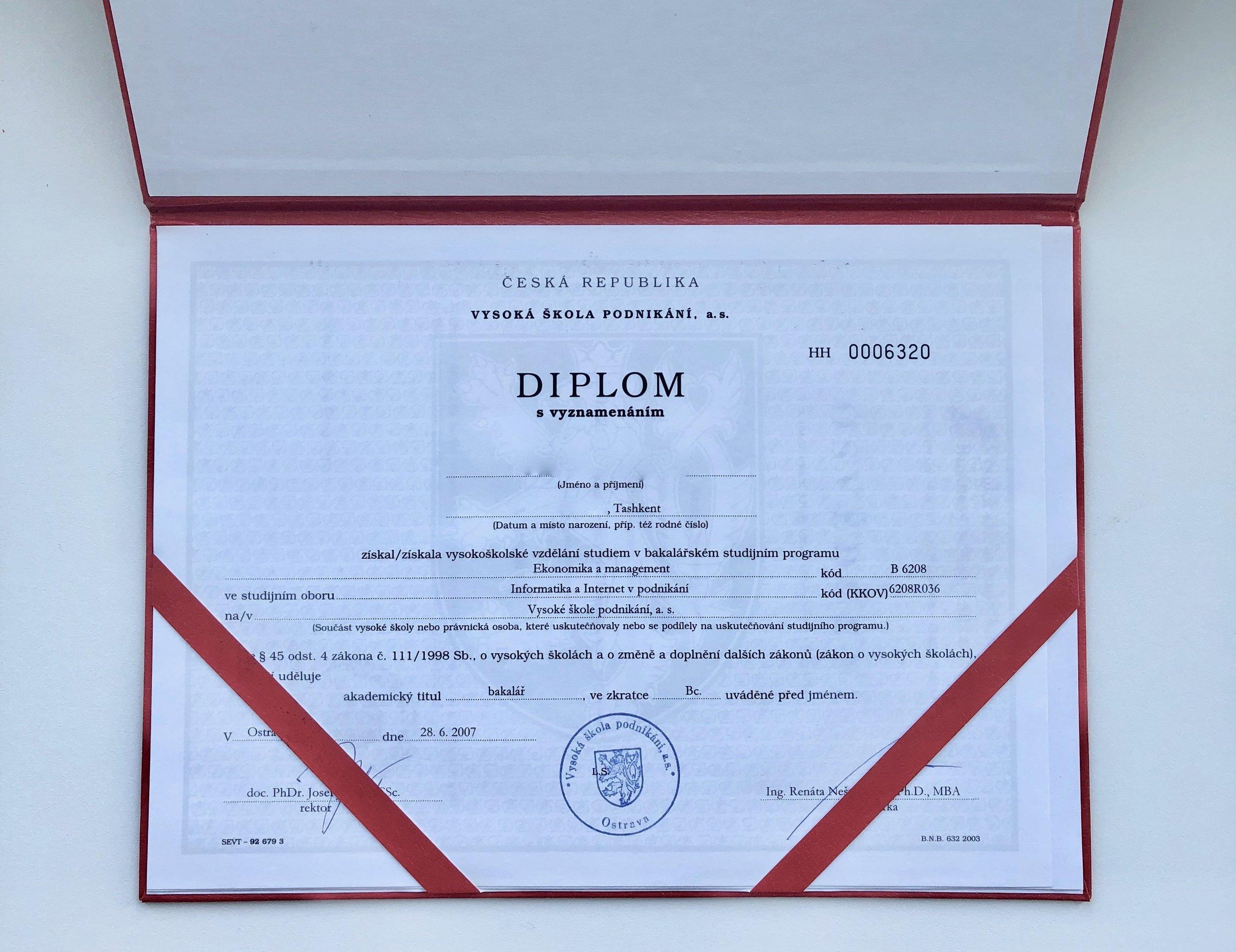 Мой диплом об окончании института (Имя и дату рождения я вымарал в редакторе картинок)