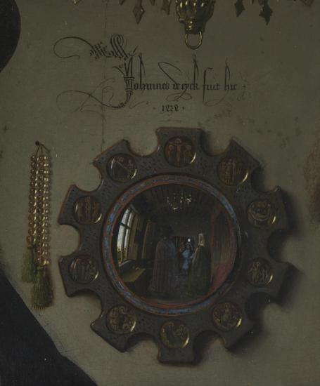 Figure 3:  The Arnolfini Portrait - detail of mirror and rosary (1434)