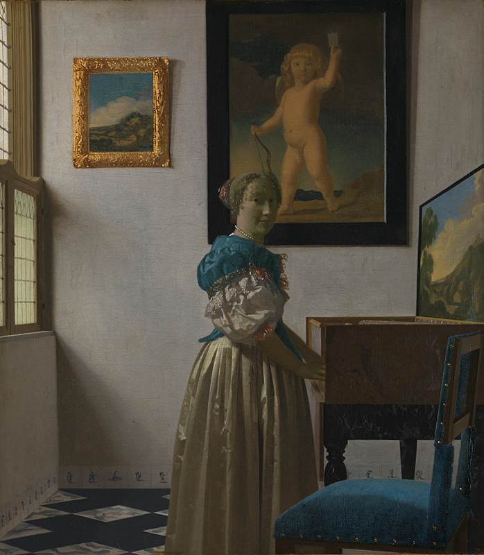 Figure 4: A Young Woman standing at a Virginal (about 1670-2)  Johannes VERMEER (National Gallery London)