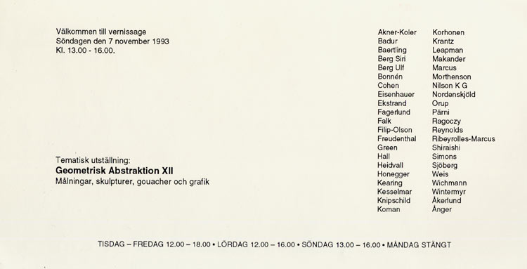 1993 Geometrisk Abstraktion XII   Galerie Konstruktiv Tendens, Stockholm, SWE