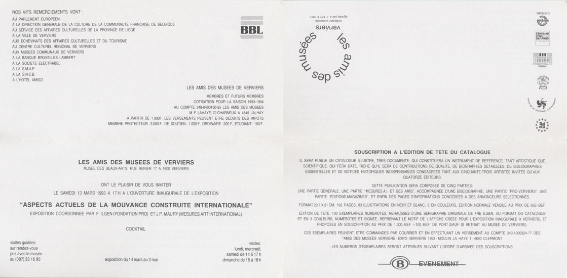 1990 Aspects de la Mouvance Construite Internationale   Galerie Cogeime, Bruxelles, B