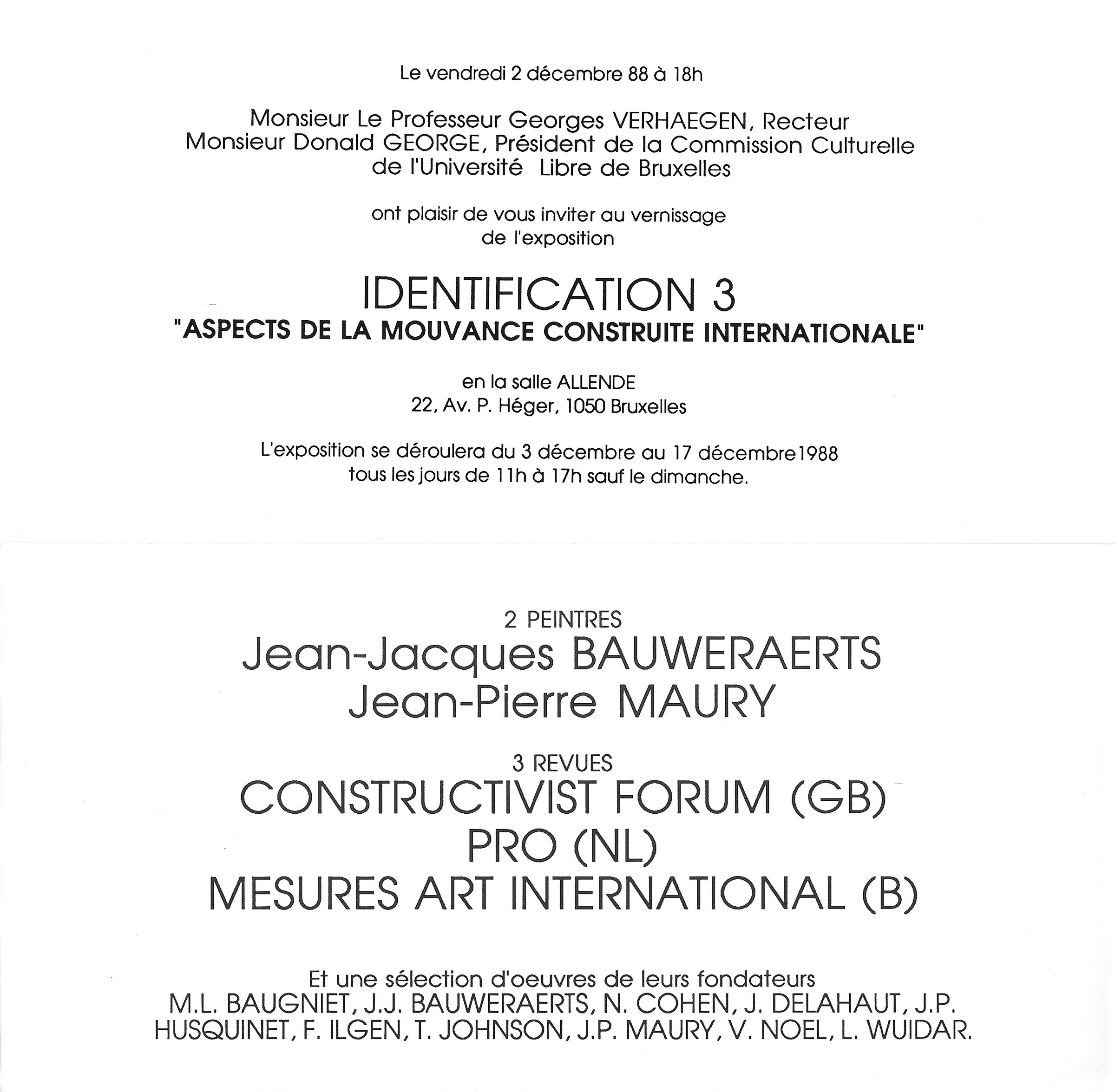 1988 Identification 3 Aspects de la Mouvance Construite Internationale   Université Libre de Bruxelles, B