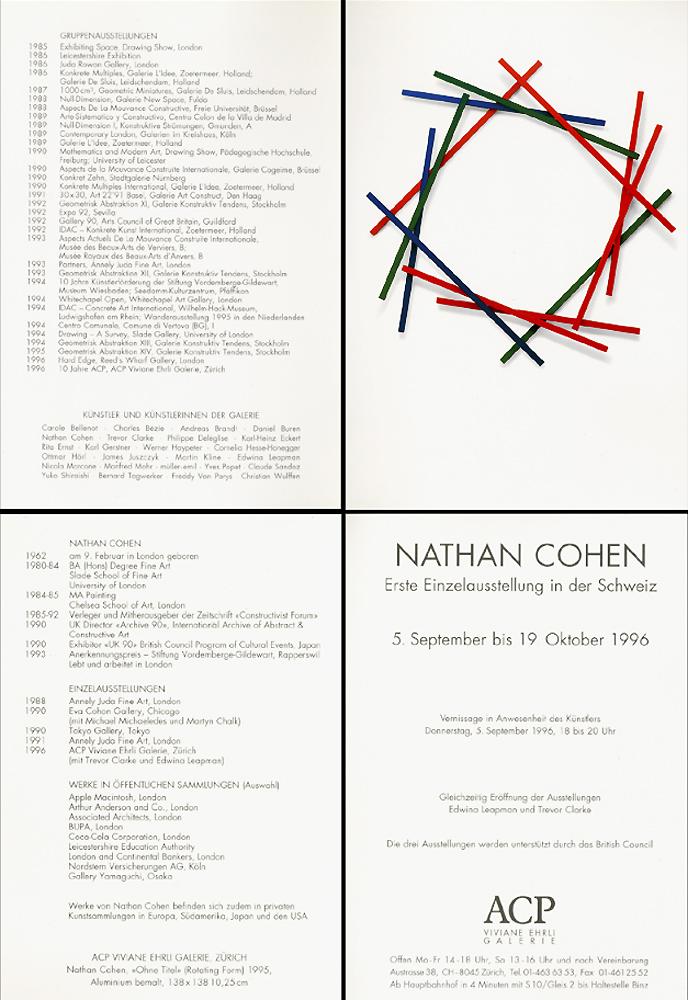 1996 Immerzeit - Jubiläumsausstellung der Galerie 1986 bis 1996  ACP Viviane Ehrli Galerie, Zurich, CH
