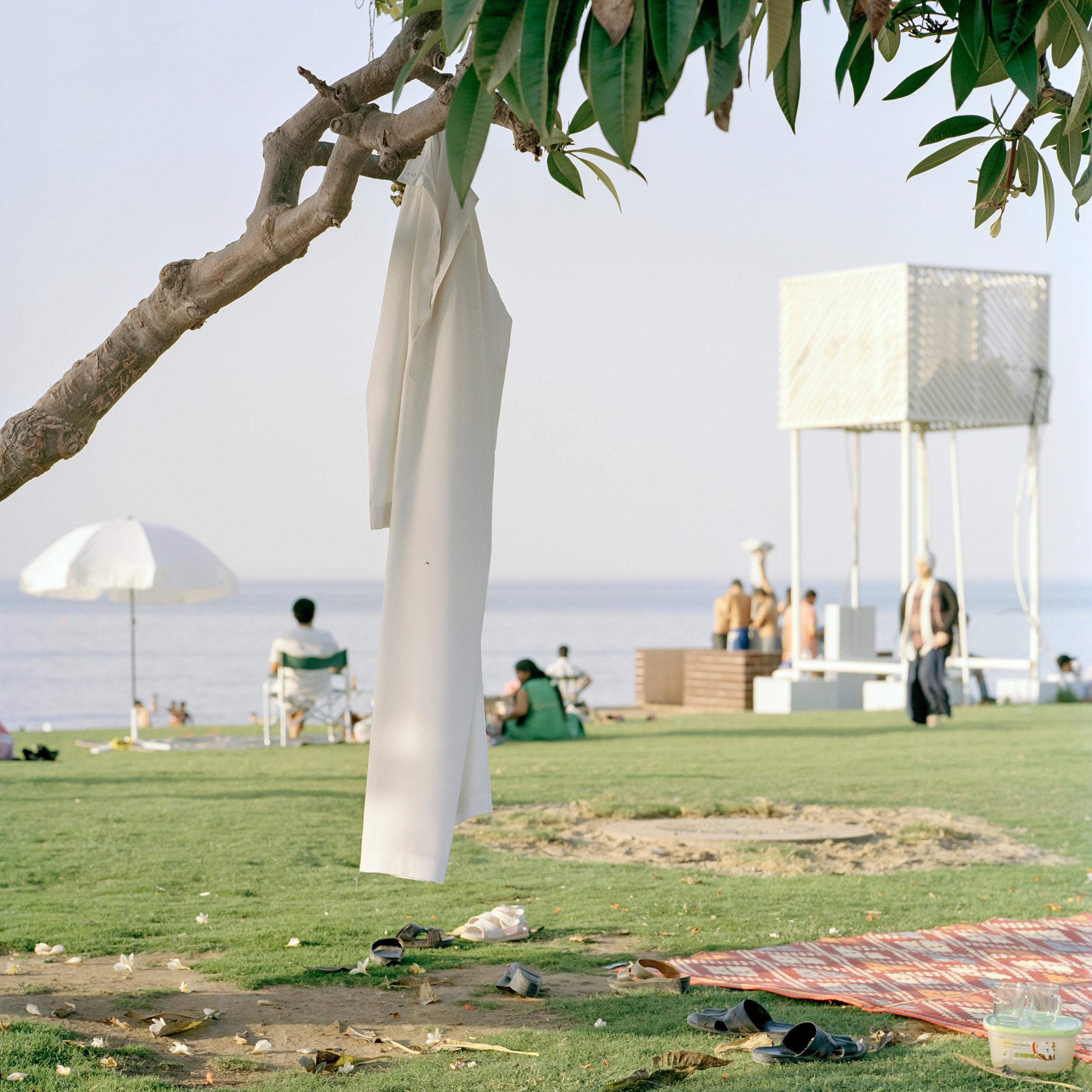 photograph of dishdasha on beach from series XO