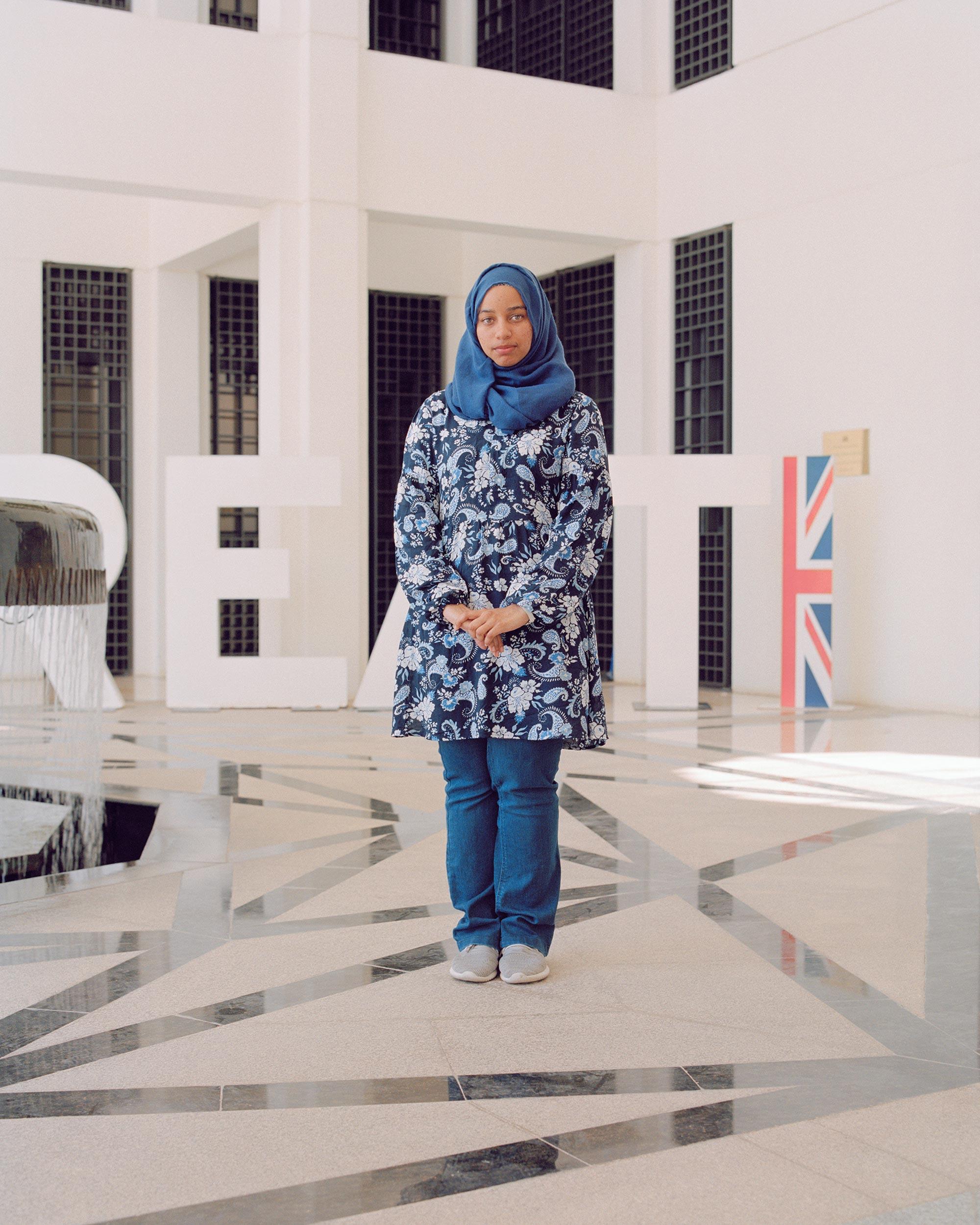 photograph of girl wearing hijab at British Embassy from series XO