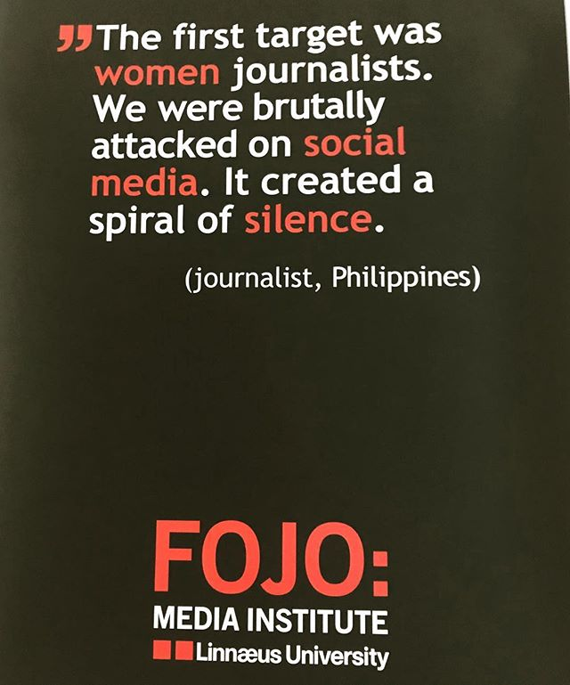 Thank you #FOJO for a great seminar on the threats and the silencing of female journalists.  It is #TimeFor_TakeTwo. Everyone´s voices need to be heard. #genderequalworld