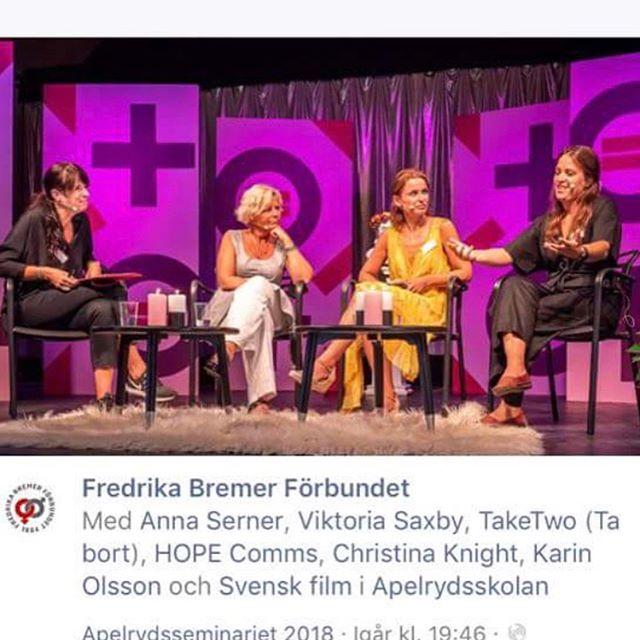 Tack Fredrika Bremer Förbundet för #Apelryd2018 seminariet och årets tema #jämställdhet och #utbildning. Tack för att TakeTwo fick vara med och tala om behovet av utbildning i #jämställdhet och #mångfald inom #mediabranschen. Endast 31% av de som hörs/syns i nyhetsmedia i Sverige är kvinnor, endast 17% av de som intervjuas som experter i media i Europa är kvinnor. Hög tid för en mer representativ mediabransch där alla röster blir hörda. Tack även till Anna Serner, Svensk film, samt Karin Olsson, Expressen#TimeForTakeTwo #TakeTwo #AndraTagningen