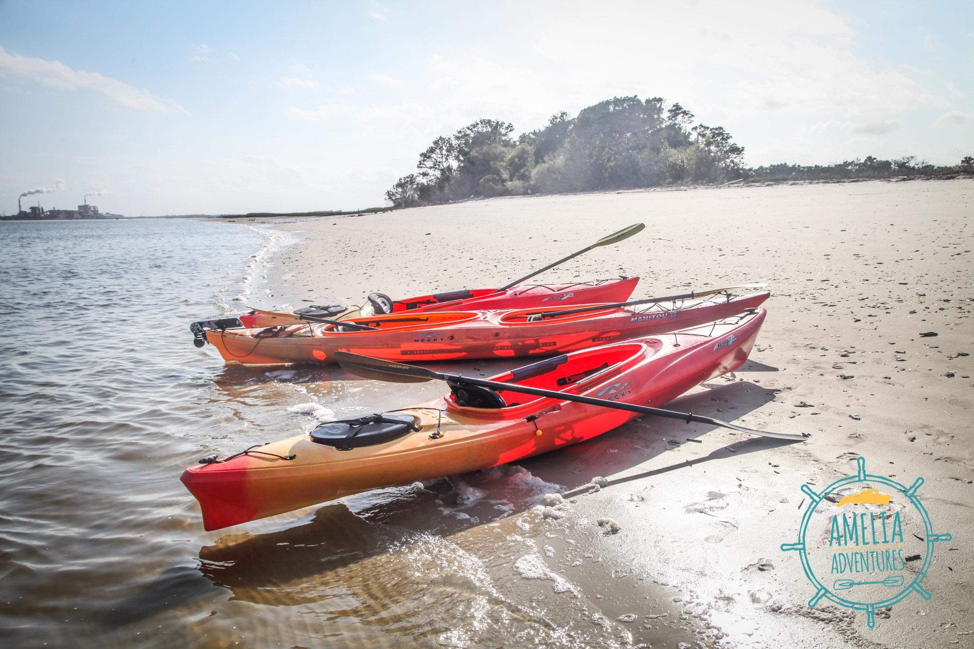 Sea kayaking with Amelia Aventures in Fernandina Beach, Florida.