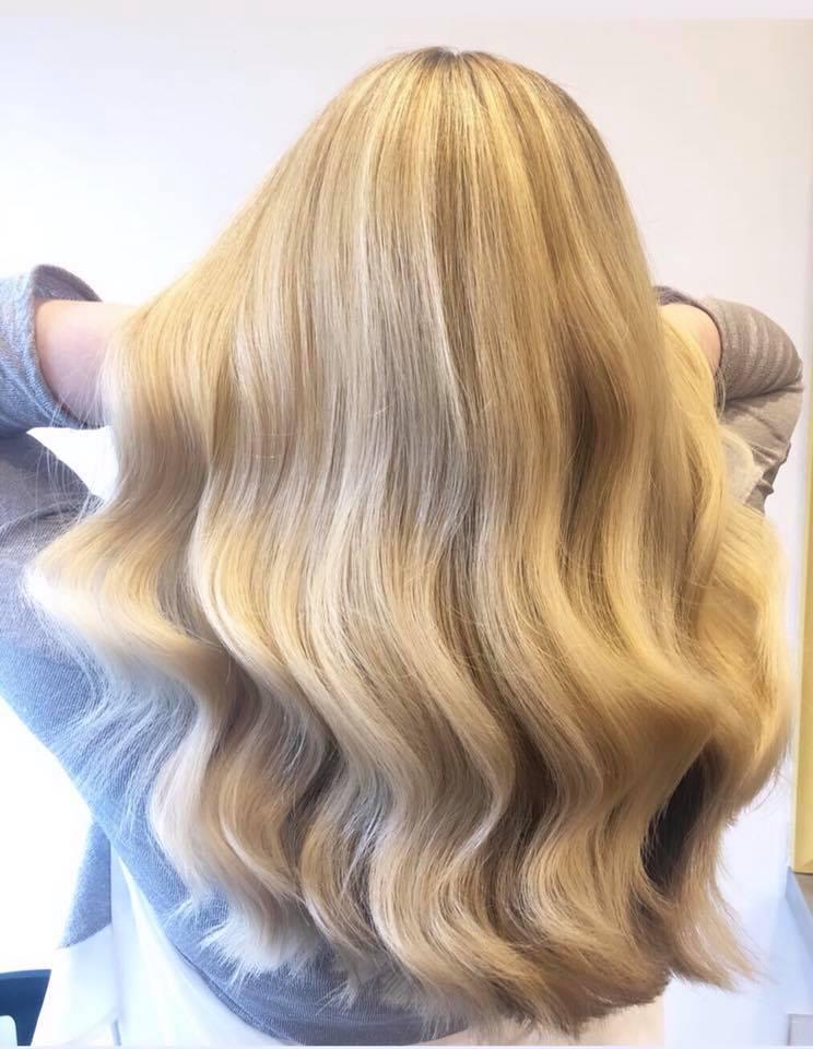 Golden blonde Highlights.