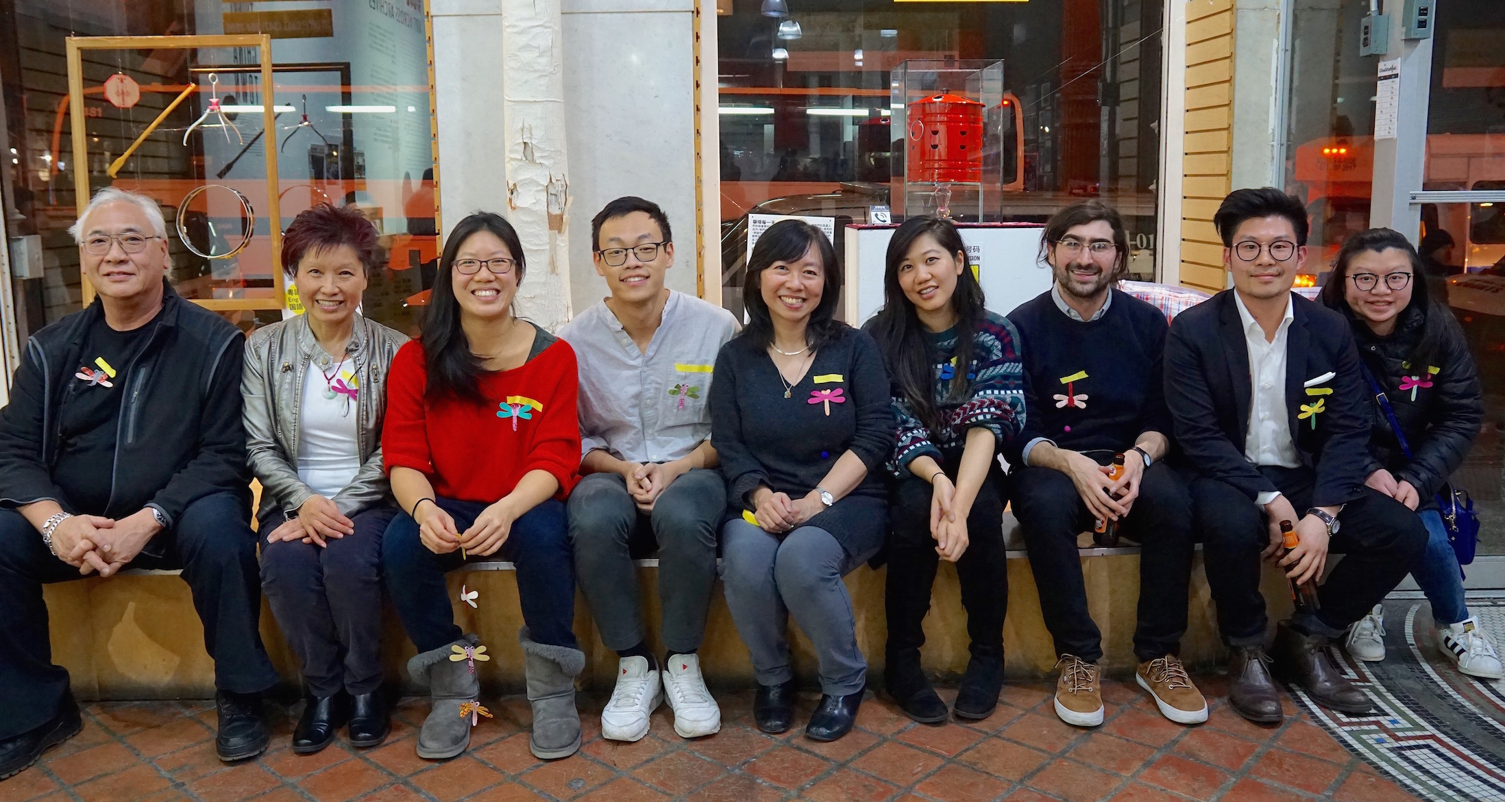 Our EVERYDAY CHINATOWN Project Team: Richard Young, Meemee Chin, Yin Kong, Simon Wu, Amy Chin, Jennifer Lai, Aaron Reiss,  (Luke Cheng, and  Belinda Lin didn't make it into the pic!)    And a big thanks to our community partners for lending us a space in their shop to display the project: Sophia Ng (Po Wing Hong), Kenneth Ma (Mott Optical), and Joanne Kwong (Pearl River Mart)