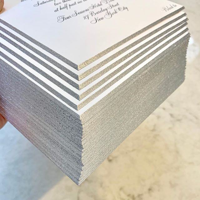 Just finished packaging up these silver edge beveled beauties and I'm not gonna lie, I'm kinda sad to see these go. They are they epitome of classy and elegant just like my bride! ❤️#custominvitations #wedding #fourseasonshotel #newyork #bevelededges #silver #classy #elegant #timeless