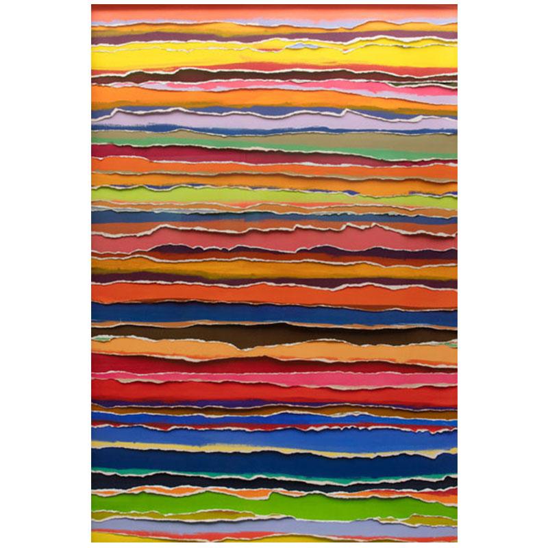 "Vik Muniz   Handmade: Tears (horizontal) , 2017 collage of strips of archival inkjet print, unique 73.25 x 49.5 x 2.25""  Inquire >"