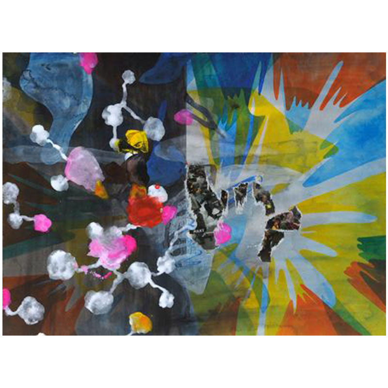 """Kara Maria   Riot , 2014 acrylic and collage on paper 12.75 x 16 x 1.5"""" framed  Inquire >"""