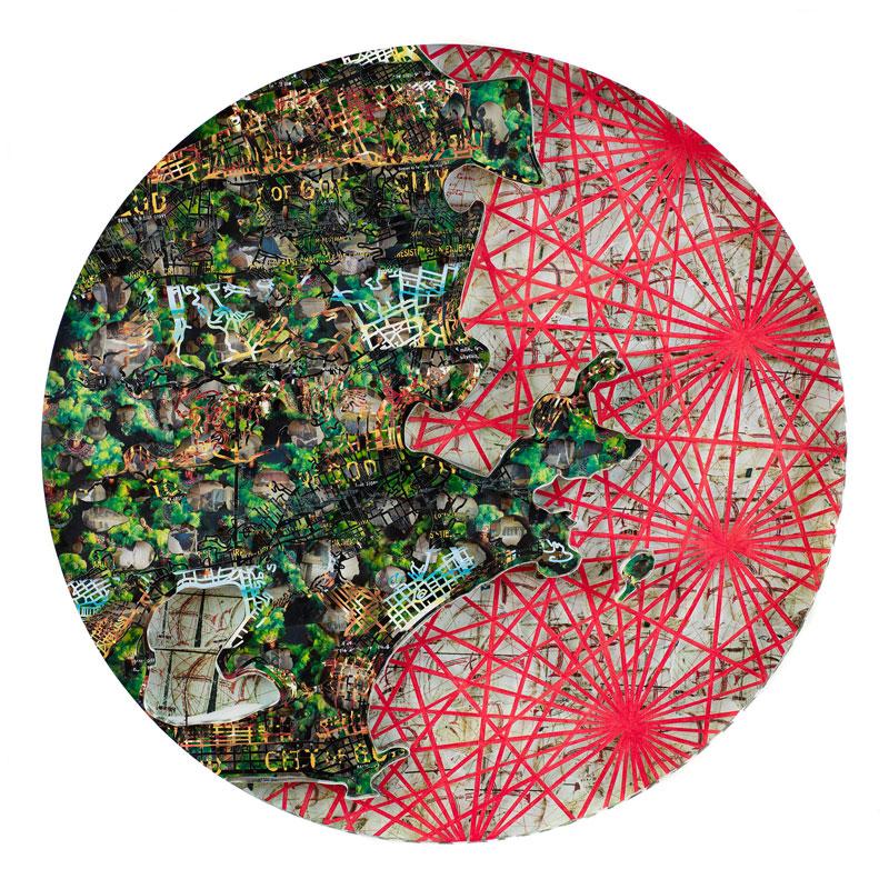 """Rio De Janiero , 2016 archival papers and boards 53 x 53 x 4.5""""  Inquire >"""