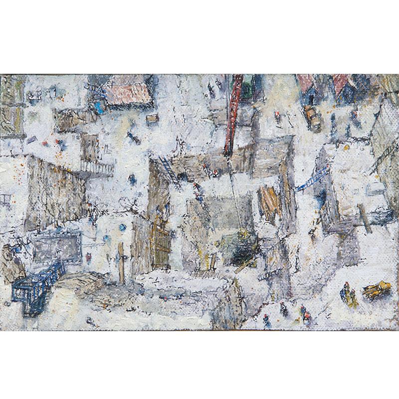 "Marbleworks , 2017 oil on linen panel 3.75 x 6"" 4 x 6.5"" framed  Inquire >"