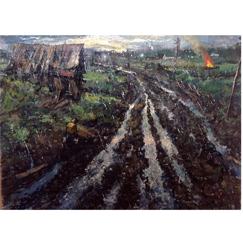 "Study for Hard Rain , 2017 oil on panel 8 x 10""  Inquire >"