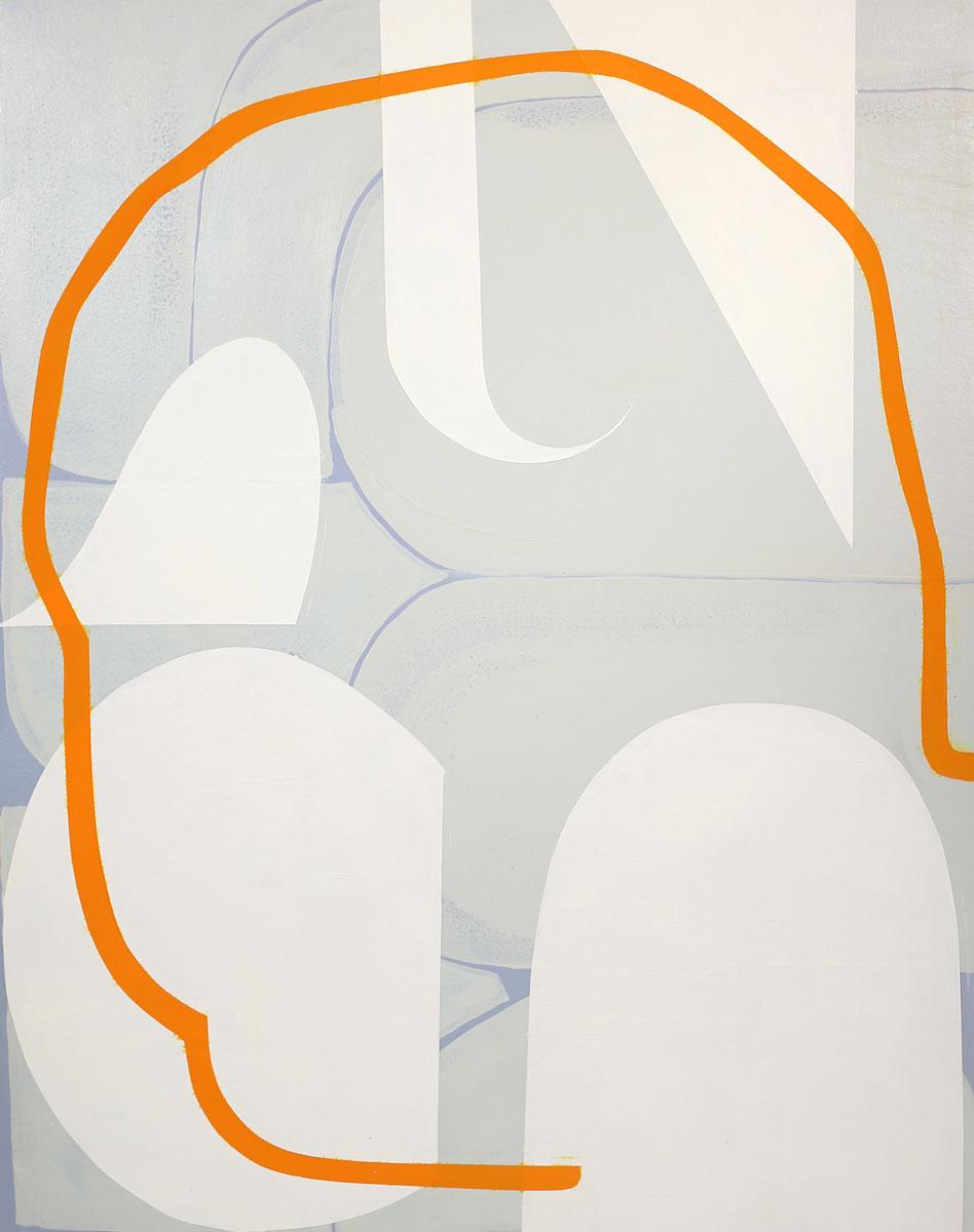 "Untitled (blue-gray, green-gray, cream, orange , 2015 acrylic and Flashe on panel 16 x 20"""