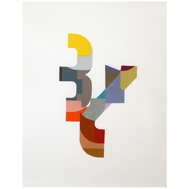 "Logo #18 , 2015 gouache on paper 14.5 x 11"" paper 16.75 x 13.25"" framed  Inquire >"