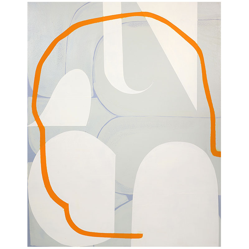 "Untitled (blue-gray, green-gray, cream, orange , 2015 acrylic and Flashe on panel 16 x 20""  Inquire >"