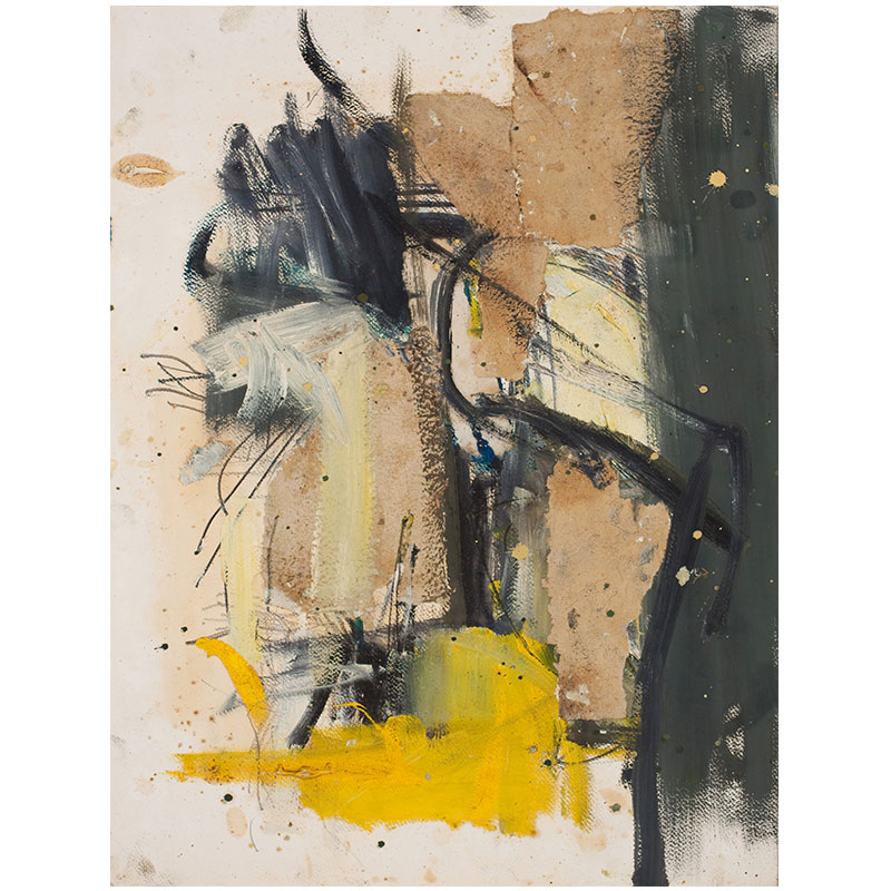 """Untitled - BBr 98 , 1962-63 oil and collage on paper 24 x 18"""" paper 29.25 x 23.5"""" framed  Inquire >"""