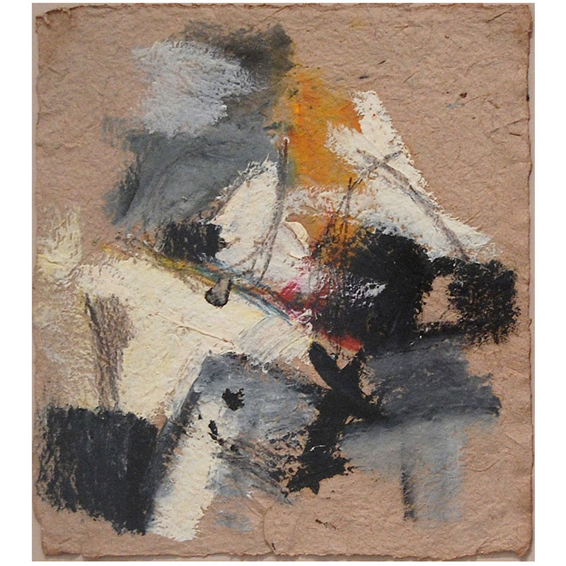 """Untitled - BBr 105  oil on handmade paper 18 x 16"""" paper 26 x 23.5"""" framed  Inquire >"""