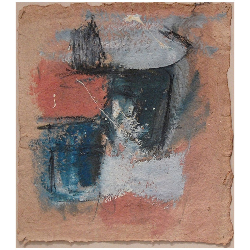 """Untitled - BBr 106  oil on handmade paper 18 x 16"""" paper 26 x 23.5"""" framed  Inquire >"""