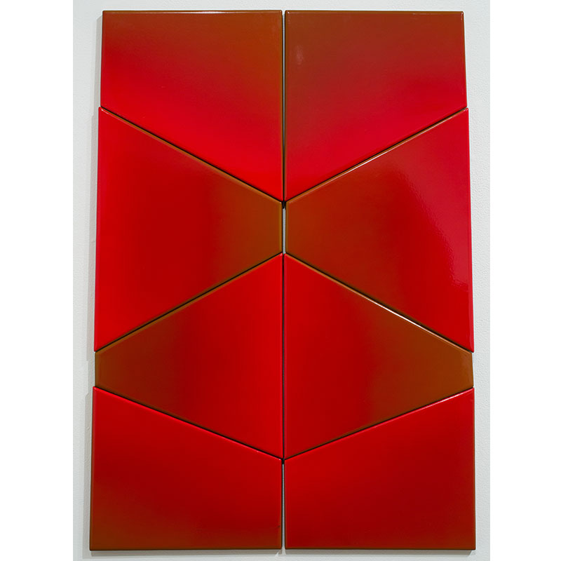 """Untitled (red modular) , 1974-75 enamel on steel 33.5 x 22.25""""  Inquire >"""