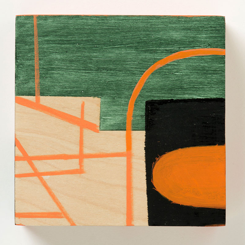 """Hoop , 2015 oil and wax on wood 5 x 5 x 2""""  Inquire >"""