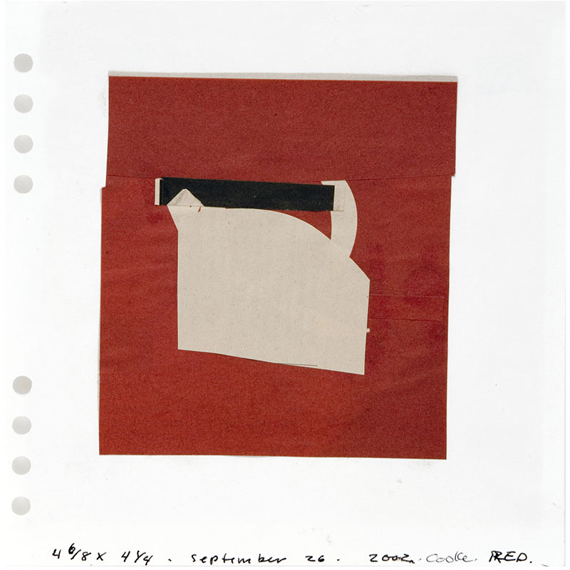 """Red, September 26, 2002 , 2002 collage 7 x 7"""" image 17 x 15"""" framed  Inquire >"""