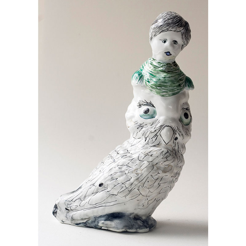 Owl Lady with Grey Hair , 2009 cast urethane, gesso, Sumi color, pencil, MSA varnish 6 x 3.5 x 2.75  Inquire >