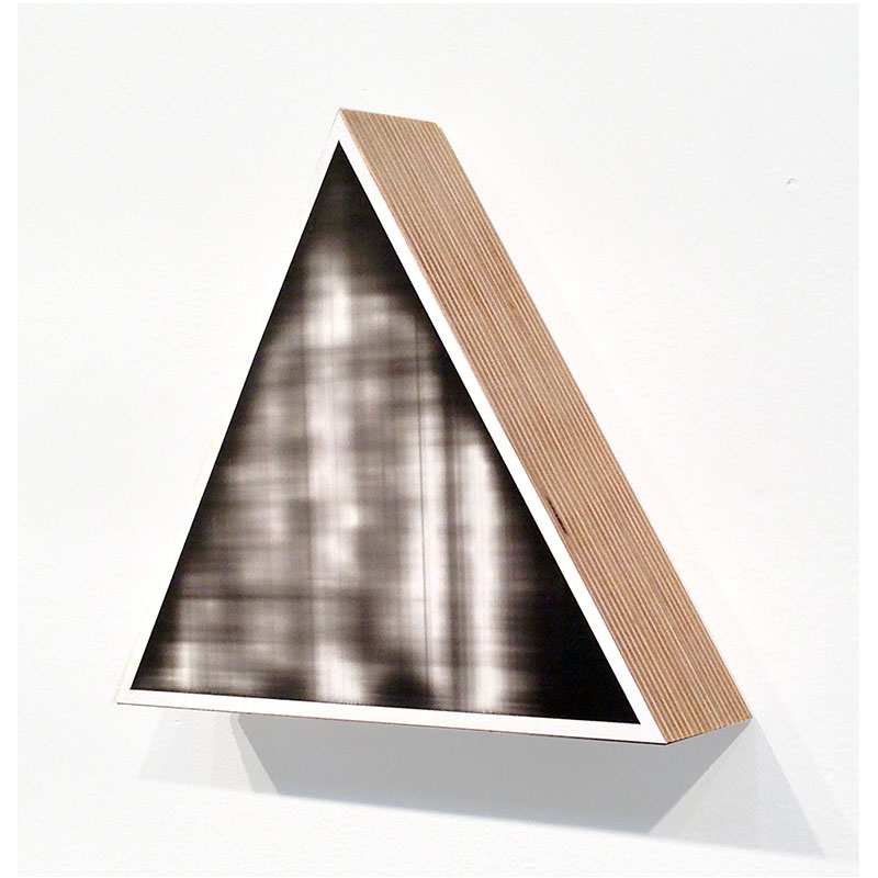 "Fauxtos (Triangle 1) , 2015 acrylic glaze on Polypropylene sheet, board and plywood 8.75 x 8.75 x 2""  Inquire >"