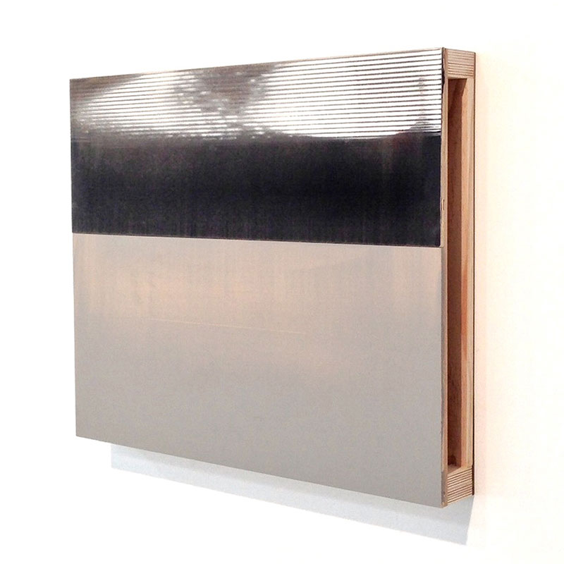 "Overview (1) , 2013 MDF, plywood and acrylic glaze 24 x 19.25 x 2.75""  Inquire >"