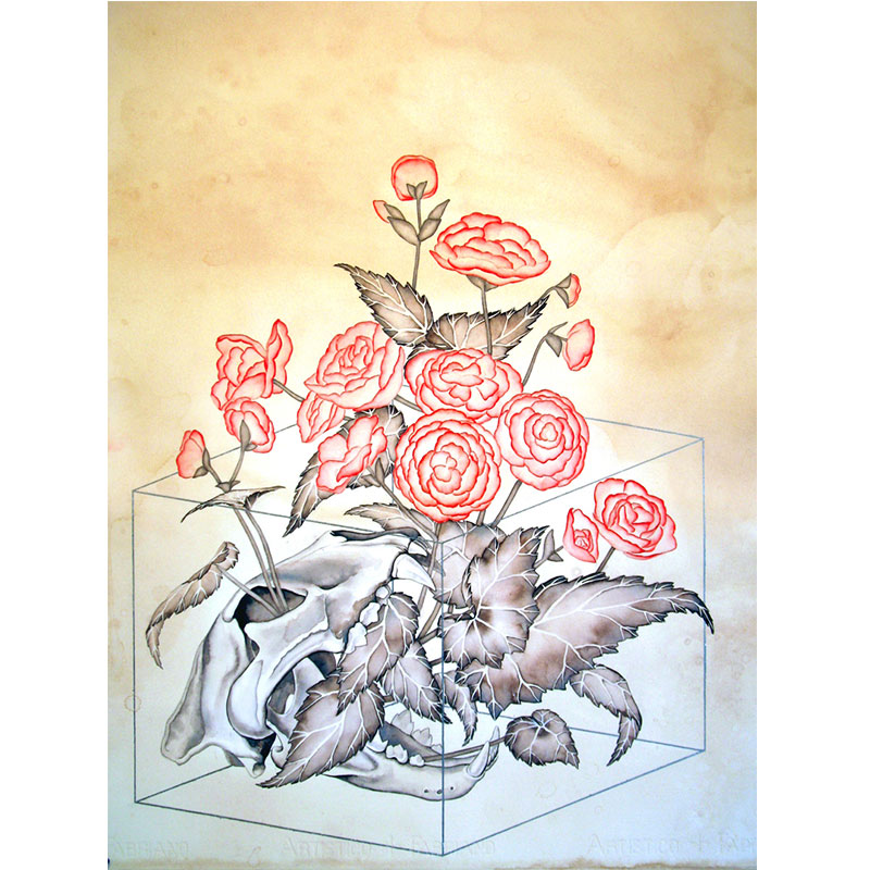 "Peaceful Death and Pretty Flowers , 2011 watercolor, gouache, ink, silver leaf, tea on paper 30 x 23""  Inquire >"