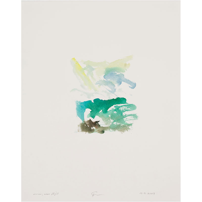 """Morning Wave Flight , 2009 watercolor on paper 20.5 x 16.25"""" paper 23 x 19"""" framed  Inquire >"""