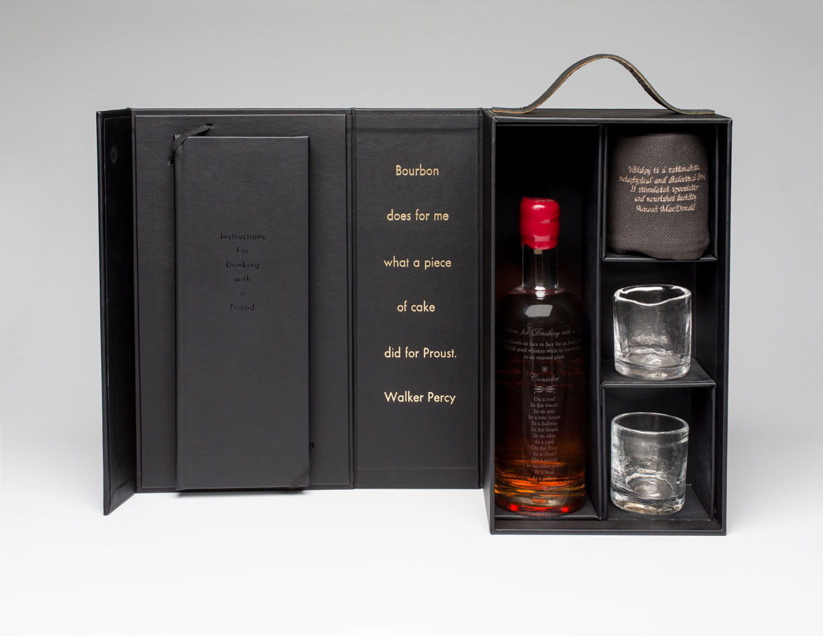 "Instructions for Drinking with a Friend , 2016 instruction book, custom distilled whiskey, hand blown & etched bottle, two hand blown glasses, embroidered towel, custom case dimensions variable, 14 x 8.5 x 5"" box Edition of 12, 1AP"