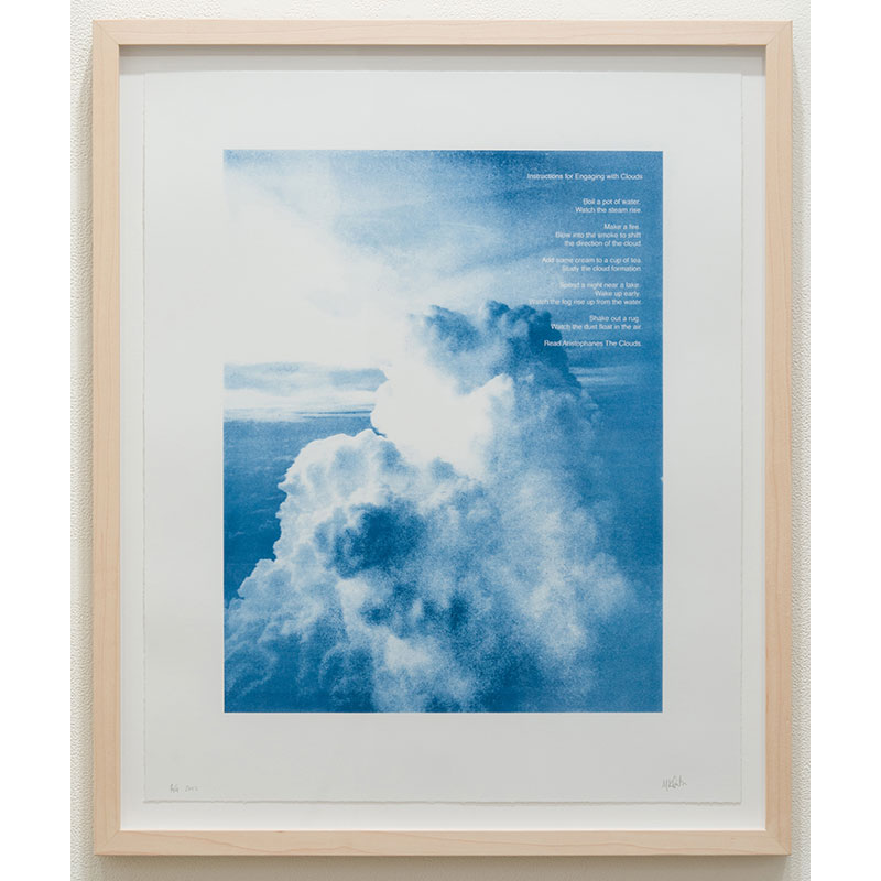 """Instructions for Engaging with Clouds , 2017 photographic print 23 x 18.75"""" paper 26.5 x 22.25"""" framed Edition of 14  Inquire >"""