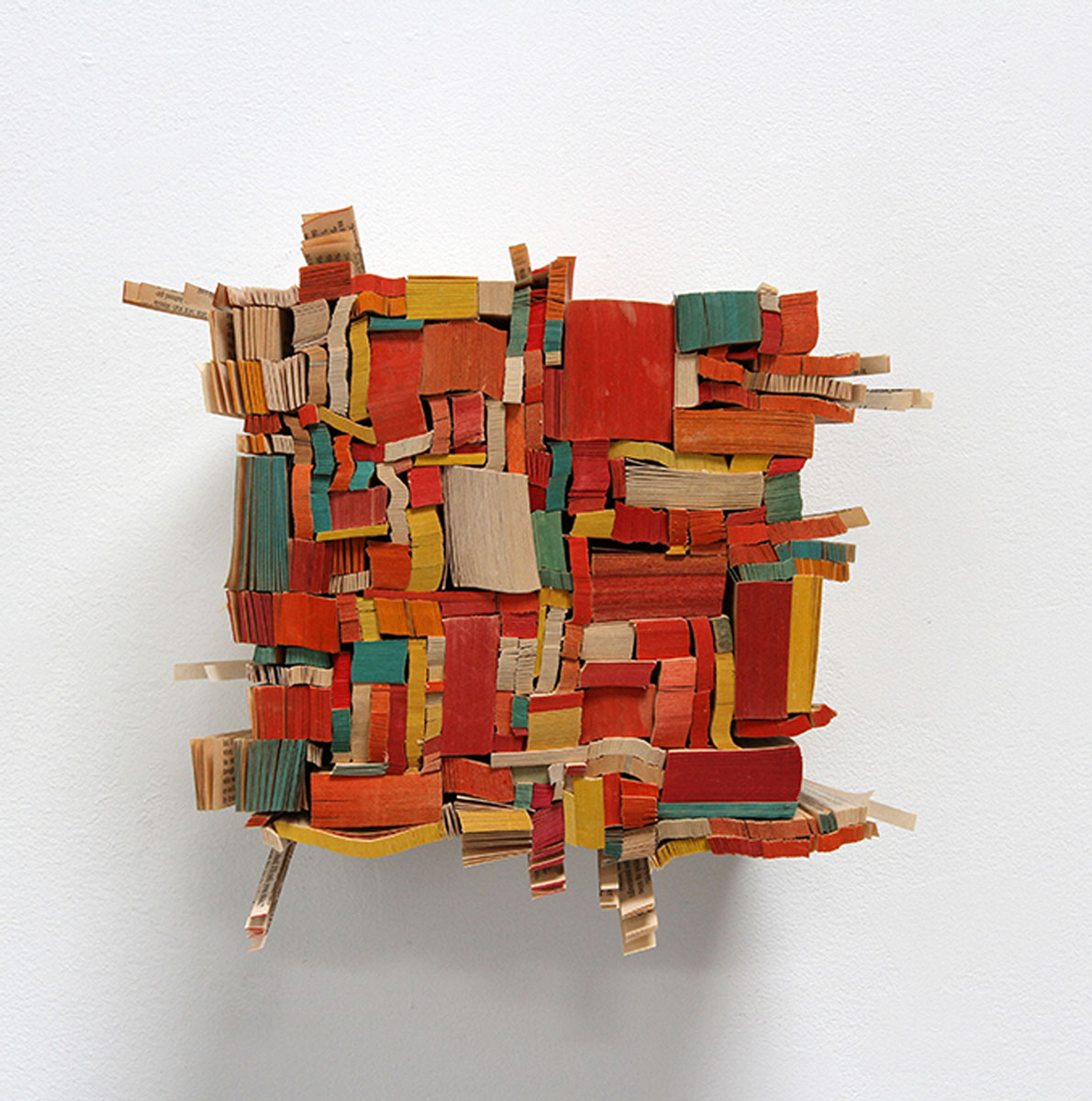 """Afterword , 2014 paperback book slices, wood, bookbinder's adhesive 8 x 8 x 5"""""""