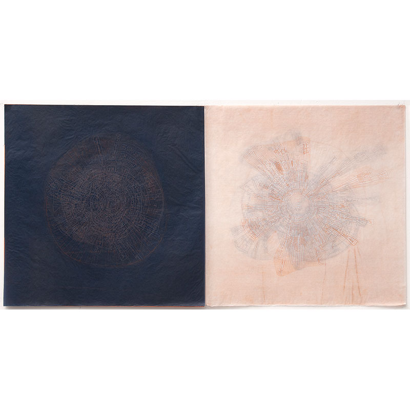 """ELOCUTION , 2012 series of 16 unique diptychs embossing and debossing on gampi and carbon paper with red iron oxide 24 x 24"""" each 24 x 48"""" total Edition of 16, 1BAT, 2PP, 1AP  Inquire >"""