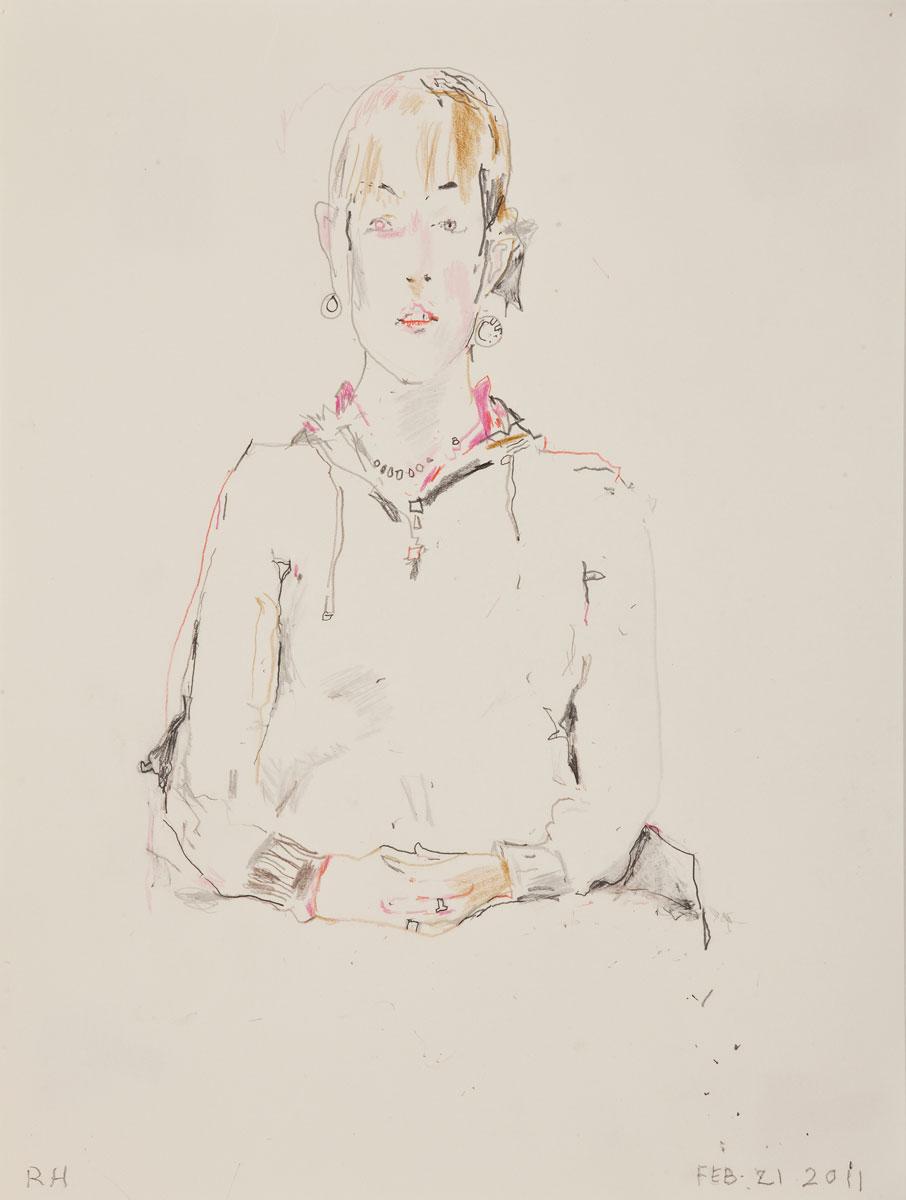 "Daphne I , 2011 graphite on paper 12 x 9"" paper 17.5 x 14.25"" framed"