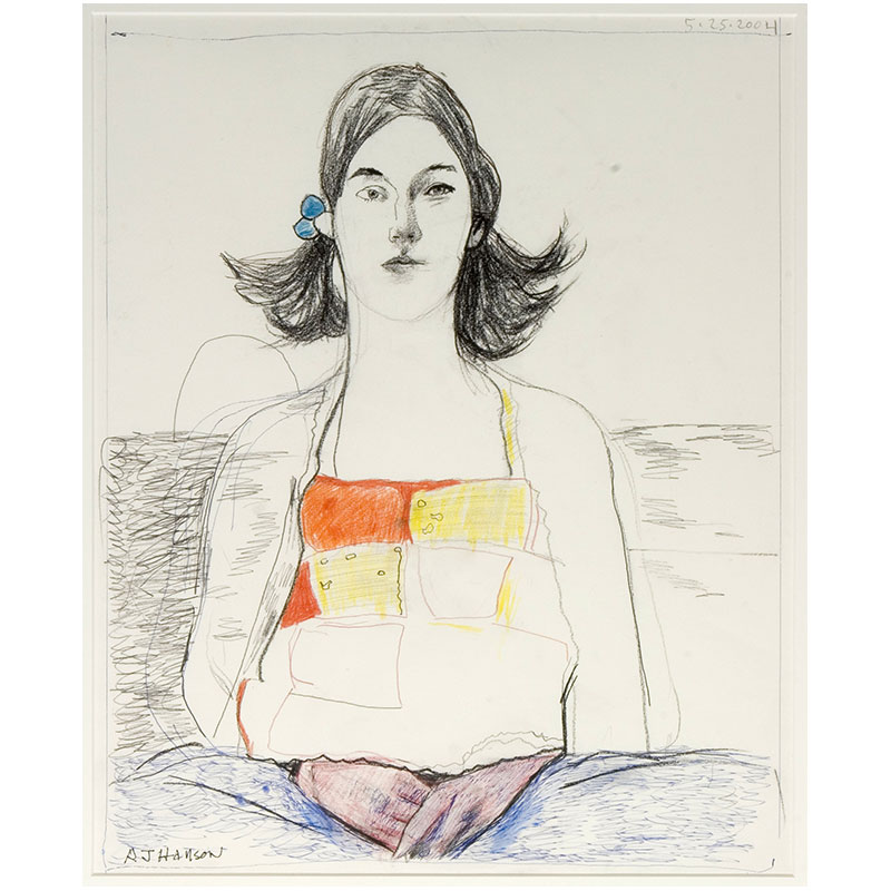 """Reese , 2004 ink, black chalk and colored pencilon paper 22 x 18.5"""" framed  Inquire >"""