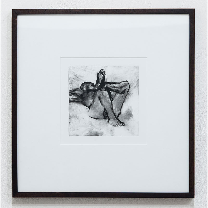 """Figure Study on Back #8  monotype on paper 7 x 7"""" paper 17.25 x 16.75"""" framed  Inquire >"""