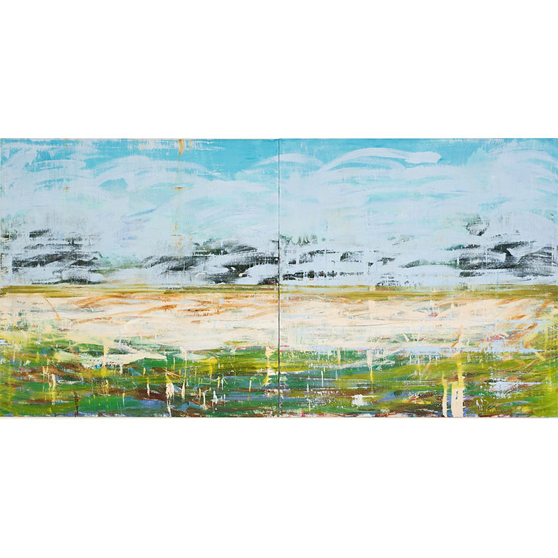 """The Bean Field , 2008 oil on canvas on panel 60 x 120"""" diptych (60 x 60"""" each panel)  Inquire >"""