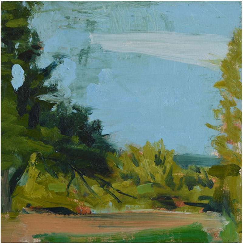 """The Sounding Green , 2014 oil on panel 14.75 x 14.75"""" panel 24 x 24"""" framed  Inquire >"""