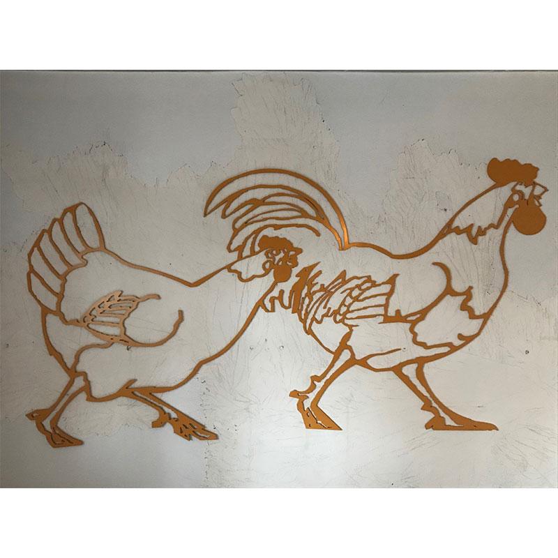 "Chicks , 2017 Cut aluminum, epoxy paint 35 x 67""  Inquire >"
