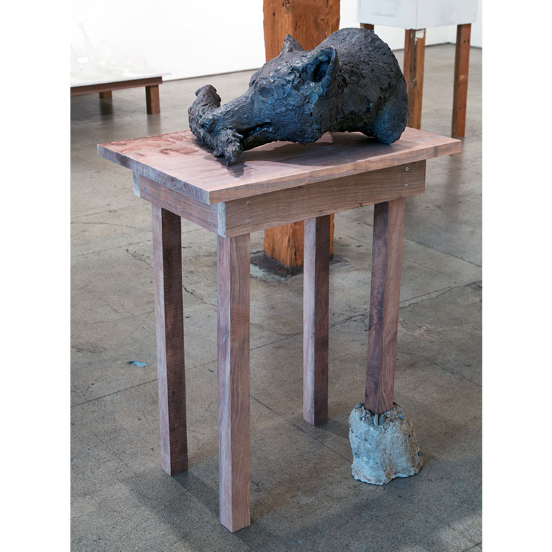 "Lupe , 2015 bronze, with walnut and concrete table 14 x 20 x 22"" sculpture 47 x 22 x 29.5"" with table  Inquire >"