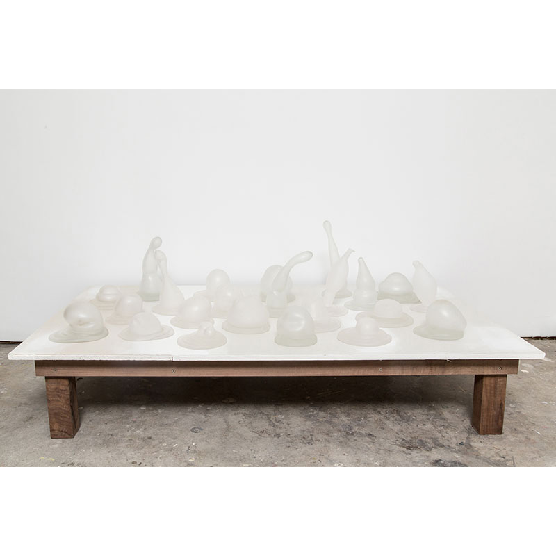 "Bubble Field #1  , 2012 blown and formed glass 23.5 x 35 x 60""  Inquire >"