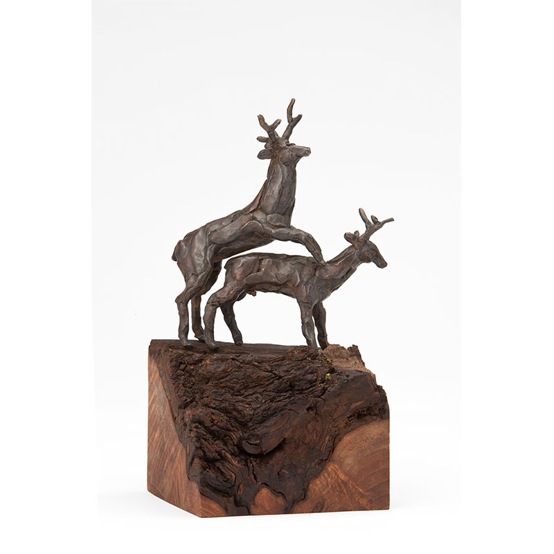 "Young Bucks , 2010 cast bronze with wood base 10.5 x 5 x 5.5""  Edition of 6  Inquire >"