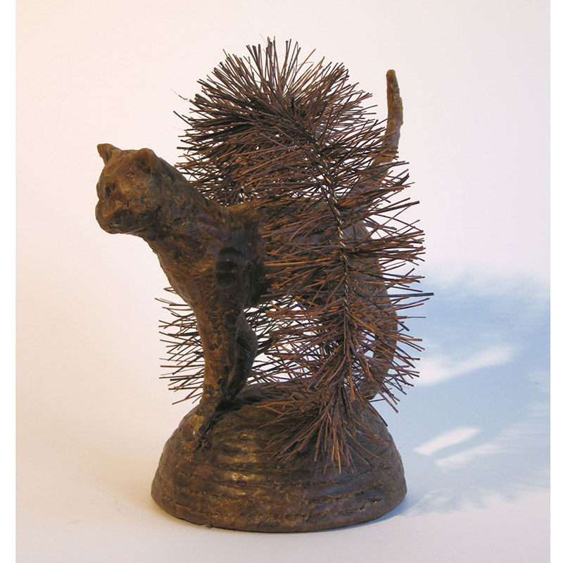 "Cat Brusher , 2007 bronze, bristle and wire 9 x 7.5 x 7.5"" Edition of 6, 2AP  Inquire >"
